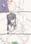1girl akatsuki_(kantai_collection) anchor_print booth close-up closed_eyes comic commentary_request drinking_fountain flat_cap fork glass gomennasai hands_together hat kantai_collection long_hair long_sleeves napkin neckerchief okosama_lunch peas purple_hair school_uniform serafuku sitting sleeves_past_wrists smile solo translated