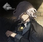 1boy cross edmond_dantes_(fate/grand_order) fate/grand_order fate_(series) hat looking_at_viewer looking_down male_focus mouth_hold routo smile smoking solo translation_request wavy_hair white_hair yellow_eyes