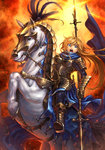 1girl armor blonde_hair blue_eyes boots breastplate fire full_armor gauntlets highres horse long_hair original pauldrons polearm riding scarf skirt solo spaulders spear tatsuya_(atelier_road) weapon