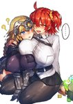 ... 2girls ? ahoge alternate_breast_size arm_around_shoulder armor armored_dress black_legwear blonde_hair blush braid breast_press breasts chain chaldea_uniform cube empty_eyes eyebrows_visible_through_hair fate/apocrypha fate/grand_order fate_(series) faulds flying_sweatdrops fujimaru_ritsuka_(female) gauntlets hair_between_eyes hair_ornament hair_scrunchie hammer headpiece heavy_breathing highres huge_breasts impossible_clothes jacket jeanne_d'arc_(fate) jeanne_d'arc_(fate)_(all) large_breasts long_braid long_hair looking_at_another mana_prism melon22 multiple_girls nose_blush one_side_up open_mouth orange_eyes orange_hair pantyhose purple_eyes saliva scrunchie side_ponytail single_braid sitting speech_bubble spoken_ellipsis spoken_question_mark sweatdrop thighhighs very_long_hair white_background white_jacket yellow_scrunchie yuri