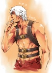 1boy bad_id bad_pixiv_id brushing_teeth dante_(devil_may_cry) devil_may_cry facial_hair groin highres male_focus manly muscle shirtless shubuka_masamune solo stubble toothbrush white_hair