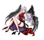 1girl 96dgd black_bow black_wings bow breasts character_request china_dress chinese_clothes closers dress full_body high_heels highres large_breasts legs_together long_hair looking_at_viewer pale_skin red_eyes side_slit silver_hair solo thigh_strap thighs wind wings