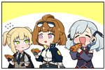 3girls ^_^ ^o^ absurdres bare_shoulders belt black_gloves blush braid breasts chibi closed_eyes detached_sleeves drooling earpiece eyebrows_visible_through_hair eyewear_on_head flying_sweatdrops girls_frontline gloves green_eyes grizzly_mkv_(girls_frontline) highres hot_dog jacket jacket_on_shoulders long_hair multiple_girls necktie nemomo purple_eyes short_hair spas-12_(girls_frontline) sunglasses thick_eyebrows twintails two_side_up vest welrod_mk2_(girls_frontline)