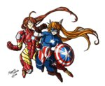 2girls ahoge avengers battle captain_america captain_america_(cosplay) cosplay crossover epic fighting genderswap glasses hasegawa_chisame iron_man iron_man_(cosplay) kagurazaka_asuna kodama-sama long_hair mahou_sensei_negima! marvel mask multiple_girls no_headwear no_helmet ponytail power_armor shield twintails wings