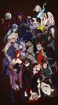 ! 2boys 6+girls :d :o absurdres alucard_(hellsing) alucard_(hellsing)_(cosplay) android angel_wings animal_costume animal_ears animal_print apron axe bandages bangs bare_shoulders barefoot bat_print bat_wings batman_(series) beowulf_(skullgirls) big_band black_background black_eyes black_footwear black_hair blood blood_on_face bloody_clothes bloody_marie_(skullgirls) bloody_weapon blue_eyes blue_hair blunt_bangs bodysuit boots bow bowtie breast_hold breasts bridal_gauntlets bridal_veil bride brown_hair buttons cerebella_(skullgirls) chainsaw claws cleavage closed_mouth corpse_bride cosplay covered_navel covering covering_face cravat crossed_arms crossover dark_skin demon_girl disembodied_head doctor_octopus doctor_octopus_(cosplay) doctor_who double_(skullgirls) dragon dress eliza_(skullgirls) emily_(corpse_bride) epaulettes everyone expressionless extra_arms extra_eyes extra_mouth eyebrows eyeshadow facial_mark fangs feathers filia_(skullgirls) five_nights_at_freddy's flipped_hair foxy_(fnaf) foxy_(fnaf)_(cosplay) friday_the_13th frills fukua_(skullgirls) full_body fur fur_trim gallon gallon_(cosplay) ganno gloves glowing glowing_eyes green_hair green_lipstick grey_hair grin hair_ornament hair_over_one_eye hairband half-closed_eyes halloween hand_on_hip hands_on_own_face hands_on_own_knees harley_quinn harley_quinn_(cosplay) harness hat head_wings headless headless_horseman heart_cutout hellsing high_heel_boots high_heels highleg highleg_leotard highres hockey_mask holding holding_weapon hook_hand horse huge_weapon index_finger_raised jason_voorhees jason_voorhees_(cosplay) jedah_dohma jedah_dohma_(cosplay) knee_boots lace large_breasts leaning_forward leotard leviathan_(skullgirls) lipstick long_hair long_sleeves looking_up machinery maid maid_headdress makeup mask military military_uniform monster_girl morrigan_aensland morrigan_aensland_(cosplay) ms._fortune_(skullgirls) multicolored_hair multiple_boys multiple_crossover multiple_girls muscle no_bra no_pupils nu