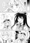 2girls akatsuki_(kantai_collection) bangs blush comic commentary_request cream cream_on_face darou74 eating eyebrows_visible_through_hair flat_cap food food_on_face greyscale hair_between_eyes hat hibiki_(kantai_collection) highres holding holding_spoon kantai_collection long_hair long_sleeves monochrome multiple_girls neckerchief open_mouth sailor_collar school_uniform serafuku smile speech_bubble spoon spoon_in_mouth translated wavy_mouth