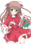 1girl :d braid brown_hair christmas christmas_ornaments green_eyes hair_ornament holding kanbe_kotori key_(company) long_hair looking_at_viewer mana_(10221125) open_mouth rewrite smile solo thighhighs twin_braids white_legwear zettai_ryouiki