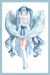 1girl angel_wings blue_footwear blue_hair closed_eyes dress facing_viewer full_body gloves hair_ornament hair_scrunchie hands_together hands_up hatsune_miku highres long_hair scrunchie simple_background sleeveless sleeveless_dress solo sora_(bl190) standing thighhighs twintails very_long_hair vocaloid white_background white_dress white_gloves white_legwear white_wings wings