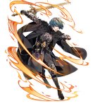 1boy 88_taho aqua_hair armor bangs black_pants blue_eyes boots byleth byleth_(male) dagger fire fire_emblem fire_emblem:_three_houses fire_emblem_heroes full_body gauntlets highres holding holding_sword holding_weapon knee_pads long_sleeves looking_away male_focus official_art open_mouth pants reverse_grip shiny shiny_hair short_hair solo sword transparent_background weapon