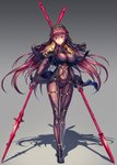bodysuit breasts covered_navel dual_wielding fate/grand_order fate_(series) gae_bolg gradient gradient_background hair_intakes highres holding holding_weapon long_hair looking_at_viewer pauldrons polearm purple_bodysuit purple_hair red_eyes scathach_(fate/grand_order) shoulder_armor spear tako_seijin veil very_long_hair weapon