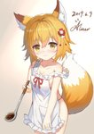 1girl 3: aliter animal_ear_fluff animal_ears apron bangs bare_arms bare_shoulders blonde_hair blush breasts brown_background brown_eyes cleavage closed_mouth collarbone dated eyebrows_visible_through_hair flower fox_ears fox_girl fox_tail frilled_apron frills gradient gradient_background hair_between_eyes hair_flower hair_ornament highres holding ladle looking_at_viewer naked_apron red_flower red_ribbon ribbon ribbon-trimmed_apron ribbon_trim senko_(sewayaki_kitsune_no_senko-san) sewayaki_kitsune_no_senko-san short_hair signature sketch small_breasts solo standing strap_slip tail tail_raised white_apron white_background