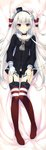 1girl absurdres amatsukaze_(kantai_collection) black_panties choker dakimakura full_body garter_straps gloves highres huge_filesize kantai_collection long_hair looking_at_viewer mini_hat panties parted_lips red_legwear sailor_collar scan silver_hair single_glove solo suspenders suzuhira_hiro thighhighs two_side_up underwear very_long_hair white_gloves