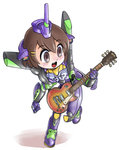 1girl brown_eyes brown_hair chibi cosplay eva_01 guitar hirasawa_yui instrument k-on! kiichi les_paul namesake neon_genesis_evangelion solo