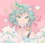 1girl aqua_hair bang_dream! bow candy collarbone food green_bow green_eyes hair_bow heart hikawa_hina holding_lollipop itomugi-kun lollipop looking_at_viewer off_shoulder pink_background short_hair side_braids soap_bubbles solo sparkle star star-shaped_pupils symbol-shaped_pupils upper_body