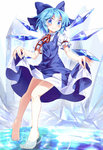 1girl barefoot blue_dress blue_eyes blue_hair bow cirno curtsey dress e.o. feet hair_bow highres ice ice_wings legs looking_at_viewer partially_submerged puffy_short_sleeves puffy_sleeves refraction shirt short_sleeves smile solo touhou water wings