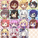6+girls :3 :p >_o ahoge akai_haato aki_rosenthal anchor_symbol animal_ear_fluff animal_ears backwards_hat bangs bat_hair_ornament bell black_hair blonde_hair blue_eyes blue_hair blunt_bangs blush braid brown_hair cherry_blossoms chibi closed_eyes detached_hair eyebrows_visible_through_hair fang flower fox_ears glasses green_eyes hair_bun hair_ornament hairclip hat heart highres hololive horns long_hair mask medium_hair minato_aqua multiple_girls murasaki_shion nakiri_ayame natsuiro_matsuri necktie nightmare_0329 nontraditional_miko one_eye_closed one_side_up oni_mask ookami_mio oozora_subaru open_mouth pointy_ears roboco-san roboco_ch. sakura_miko shirakami_fubuki side_ponytail skin_fang smile star tied_hair tokino_sora tokino_sora_channel tongue tongue_out twintails upper_body virtual_youtuber white_hair wings witch_hat wolf_ears yellow_eyes yozora_mel yuujin_a_(tokino_sora_channel) yuzuki_choco