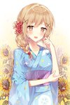 1girl alternate_hairstyle bang_dream! bangs blonde_hair blue_kimono blush braid clenched_hand eyebrows_visible_through_hair floral_background flower hair_flower hair_ornament hair_over_shoulder hand_on_own_elbow hand_up highres ichigaya_arisa japanese_clothes kimono light_brown_hair looking_at_viewer obi open_mouth red_flower sash single_braid solo sunflower taya_5323203 water_drop white_flower wide_sleeves x_hair_ornament