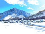 anchoku_0621 blue_sky building cloud commentary_request day highres house mountain no_humans original outdoors revision scenery sky snow tree village winter