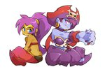 arabian_clothes bicorne dark_skin earrings harem_pants hat hoop_earrings jewelry pants pirate_hat pointy_ears pointy_shoes purple_hair risky_boots shantae_(character) shantae_(series) shantae_5 shoes skull_and_crossbones tiara vambraces wong_ying_chee