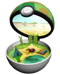 minimized no_humans open_poke_ball pikachu poke_ball pokemon pokemon_(creature) ruun_(abcdeffff) safari_ball tent