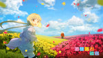 1boy 1girl alice_to_zouroku anchovy_(artist) blonde_hair bouquet cloud copyright_name field flower flower_field frilled_skirt frills hair_ornament hair_scrunchie hood hoodie horizon kashimura_sana kashimura_zouroku looking_at_viewer low_twintails motion_blur open_clothes open_hoodie open_mouth petals red_eyes scrunchie skirt solo_focus striped striped_legwear thighhighs twintails wallpaper