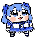 1girl :3 bangs bkub blue_bow blue_choker blue_eyes blue_footwear blue_hair blush blush_stickers bow center_frills choker clenched_hand commentary dot_nose dress eyebrows_visible_through_hair frilled_dress frilled_gloves frilled_legwear frilled_sleeves frills full_body gloves hair_bow layered_dress magical_girl nijisanji open_mouth puffy_short_sleeves puffy_sleeves shoes short_sleeves simple_background smile socks solo standing twintails virtual_youtuber white_background white_gloves white_legwear yuuki_chihiro
