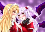 2girls bare_shoulders blonde_hair blush commentary_request hair_between_eyes hair_bobbles hair_ornament hand_on_another's_cheek hand_on_another's_face highres long_hair maid_headdress multiple_girls nanaemon one_side_up open_mouth pink_hair red_eyes shinki touhou touhou_(pc-98) upper_body wide_sleeves wings yumeko yuri