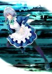 1girl >:( absurdres ahoge apron bad_id bad_pixiv_id blue_dress bow braid commentary_request derivative_work dress frown green_bow hair_bow highres izayoi_sakuya long_sleeves looking_at_viewer maid maid_apron maid_headdress pantyhose puffy_sleeves red_eyes short_hair silver_hair solo tk31 touhou tsurime twin_braids v-shaped_eyebrows waist_apron