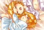 1boy 1girl bed_sheet blonde_hair blue_pajamas blush brother_and_sister child closed_eyes fetal_position hair_grab hair_ornament hairclip kagamine_len kagamine_rin lying messy midriff midriff_peek mutsuo_(ragi-ichi) navel on_back on_side open_mouth pajamas parted_lips pink_pajamas saliva shirt_lift short_ponytail siblings sleeping star star_(sky) starry_background twins vocaloid younger