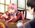 1boy 1girl bangs black_hair commentary_request couple crossed_arms darling_in_the_franxx eyebrows_visible_through_hair food food_in_mouth fringe fruit green_eyes hair_ornament hairband hetero hiro_(darling_in_the_franxx) honeypot horns long_hair military military_uniform oni_horns pink_hair poring red_horns short_hair sitting sweatdrop uniform white_hairband woumu zero_two_(darling_in_the_franxx)