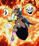 1girl absurdres antennae armlet avengers avengers:_infinity_war backlighting bare_shoulders black_dress black_sclera blonde_hair blue_eyes blue_hair bowsette bowsette_(cosplay) bracelet braid breasts bubble_tea commentary cosplay crown cup dark_skin diamond_(gemstone) dress drink drinking_straw earrings eldritch_abomination english_text fidget_spinner fire fortnite french_braid full_body fusion gasterblaster gauntlets gym_leader hair_ornament hairclip happy heterochromia highres holding holding_poke_ball hoop_earrings horns infinity_gauntlet invisible_chair jewelry jpeg_artifacts leg_up long_hair looking_at_viewer mario_(series) marvel meme minecraft mismatched_earrings mismatched_sclera multicolored_hair new_super_mario_bros._u_deluxe open_mouth pink_footwear pink_headwear poke_ball poke_ball_(generic) pokemon pokemon_(game) pokemon_swsh princess_zelda princess_zelda_(cosplay) red_background runningpigeon73 rurina_(pokemon) sans shiny shiny_hair short_hair shrek shrek_(series) single_gauntlet sitting skull slippers small_breasts smile solo_focus speech_bubble spiked_bracelet spikes strapless strapless_dress super_crown symbol_commentary talking teeth the_legend_of_zelda the_legend_of_zelda:_breath_of_the_wild the_legend_of_zelda:_breath_of_the_wild_2 tied_hair too_many_memes two-tone_hair undertale very_long_hair what white_eyes