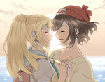 2girls backpack bag bangs beanie black_hair blonde_hair blunt_bangs closed_eyes female_protagonist_(pokemon_sm) floating_hair floral_print hat holding_hands hood hoodie lillie_(pokemon) long_hair multiple_girls nicola_(pixiv_21072914) parted_lips pokemon pokemon_(game) pokemon_sm ponytail profile red_hat sailor_collar shirt short_hair short_sleeves sidelocks smile swept_bangs tied_shirt