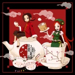1boy 1girl axis_powers_hetalia bad_id bad_pixiv_id beret branch chatonorange china_(hetalia) china_dress chinese_clothes crossover cup dress flandre_scarlet green_eyes hat hong_meiling in_container in_cup izayoi_sakuya knife long_hair maid_headdress minigirl red_hair smile smoke tea teacup teapot touhou very_long_hair wings