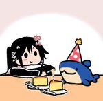1girl :3 black_hair cake candle food fork hair_ornament hat kantai_collection lowres party_hat remodel_(kantai_collection) sendai_(kantai_collection) smile solid_circle_eyes solo stuffed_animal stuffed_shark stuffed_toy terrajin