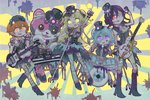 +_+ 5girls :3 :p animal_costume ascot bandaged_arm bandaged_ear bandaged_head bandages bang_dream! bangs bass_guitar bear_costume black_gloves black_headwear black_nails blonde_hair blood blood_splatter blue_hair blue_neckwear bone boots bow bowtie claw_pose commentary_request dj drum drum_set drumsticks electric_guitar fang fangs gloves guitar hair_between_eyes hair_bun half_gloves hat hat_ribbon hello_happy_world! highres holding_microphone_stand instrument kitazawa_hagumi long_hair mascot_costume matsubara_kanon michelle_(bang_dream!) microphone_stand multiple_girls nurse_cap orange_eyes orange_hair patchwork_skin phonograph pine_(pineapple5459) purple_eyes purple_hair raised_fist red_eyes red_nails ribbon seta_kaoru short_hair shorts standing stitches striped sunburst sunburst_background thighhighs tongue tongue_out top_hat torn_clothes torn_legwear tsurumaki_kokoro turntable two_side_up vertical-striped_shorts vertical_stripes yellow_eyes zombie