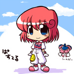 1girl blue_eyes blush_stickers chibi cloud gloves ikkyuu pants pastel_(twinbee) pink_hair shoes smile solo standing twinbee winbee