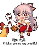 1girl :d bangs basketball bird bow chibi chicken chinese_commentary chinese_text commentary_request cross-eyed dribbling english_text eyebrows_visible_through_hair fujiwara_no_mokou full_body hair_between_eyes hair_bow long_hair looking_at_viewer lowres open_mouth pants pink_hair puffy_short_sleeves puffy_sleeves red_eyes red_footwear red_pants shangguan_feiying shirt shoes short_sleeves sidelocks simple_background smile solo standing standing_on_one_leg suspenders suspenders_slip touhou translated very_long_hair white_background white_bow white_shirt