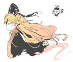 !? 1girl black_dress blonde_hair chinese_clothes closed_eyes dress gradient_hair hat hecatia_lapislazuli junko_(touhou) long_hair long_sleeves morino_hon multicolored_hair orange_hair profile simple_background tabard touhou upper_body white_background wide_sleeves