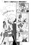 4koma anniversary bandages clover club_(shape) comic flower_(symbol) fukase greyscale head_flag highres laughing male_focus mizuhoshi_taichi monochrome oliver_(vocaloid) vocaloid