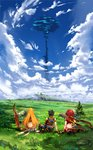 1boy 2girls absurdres arm_at_side arm_support armlet ass blonde_hair blue_sky brown_gloves brown_hair bush cloud commentary_request field from_behind gloves grass highres homura_(xenoblade_2) long_hair multiple_girls planted_sword planted_weapon poteto_(potetosarada123) red_hair rex_(xenoblade_2) rock scenery shirt short_hair sitting skirt sky sword touching tree very_long_hair weapon white_shirt xenoblade_(series) xenoblade_2
