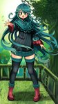 1girl :o bad_arm black_legwear blush boots borokuro day eyebrows_visible_through_hair full_body grass green_eyes green_hair highres leaf long_hair outdoors outstretched_hand personification pokemon railing red_footwear ribbed_sweater solo standing sweater tangrowth thighhighs tree very_long_hair zettai_ryouiki
