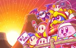 2boys ;) akeome armor beanie bird blue_hat blush_stickers bow bowtie commentary_request fence happy_new_year hat headphones jitome king_dedede kirby kirby_(series) looking_at_viewer mask meta_knight microphone mountain multiple_boys new_year nintendo no_humans notepad official_art one_eye_closed penguin red_neckwear smile sunrise video_camera waddle_dee wings