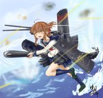 1girl anchor anchor_symbol brown_hair bullet cannon damaged folded_ponytail glowing glowing_eyes inazuma_(kantai_collection) kantai_collection machinery mary_janes qingfeng_(clashu) shoes signature smokestack thighhighs torpedo translation_request