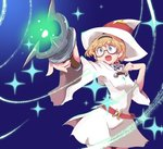 1girl belt blonde_hair blue_eyes breasts cowboy_shot dress eyebrows_visible_through_hair foreshortening freckles glasses gradient hairband hand_up hat highres hys-d little_witch_academia long_sleeves lotte_jansson round_eyewear semi-rimless_eyewear short_hair solo under-rim_eyewear wand white_dress white_headwear witch witch_hat