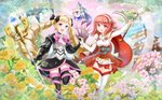 2girls absurdres black_legwear blonde_hair bow castle cherry_blossoms commentary crystal_ball dress drill_hair elbow_gloves elise_(fire_emblem_if) fingerless_gloves fire_emblem fire_emblem_if flower gloves hair_bow headdress highres holding_hands huge_filesize lens_flare lilith_(fire_emblem_if) looking_at_viewer multiple_girls nichika_(nitikapo) open_mouth pagoda purple_eyes red_eyes red_hair sakura_(fire_emblem_if) short_hair smile sparkle staff twin_drills twintails white_legwear