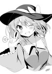 1girl ;d artist_name bangs blush bow breasts cropped_torso eyebrows_visible_through_hair fang frilled_shirt_collar frilled_sleeves frills greyscale hair_between_eyes halftone hand_up hat hat_bow heart highres komeiji_koishi large_breasts long_sleeves looking_at_viewer monochrome nenobi_(nenorium) one_eye_closed open_mouth shirt short_hair signature simple_background skin_fang smile solo spoken_heart touhou translated upper_body w white_background wide_sleeves