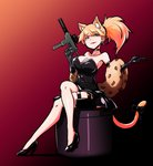 1girl alternate_costume animal_ears animal_print black_dress black_gloves blonde_hair blue_eyes breasts cat_ears cat_tail choker cleavage collarbone commentary crossed_legs dress earrings girls_frontline gloves gun hair_between_eyes hair_ornament holster idw_(girls_frontline) jewelry leopard_print lips lipstick long_hair looking_at_viewer makeup medium_breasts red_background red_lipstick ribbon sidelocks skirt solo stole strapless strapless_dress submachine_gun tail tail_ribbon thigh_holster thigh_strap thighs voodoowood weapon