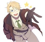 1boy :d ;) ;d america_(hetalia) axis_powers_hetalia blonde_hair blue_eyes blush_stickers bomber_jacket brown_gloves dashi_(minzoku_gb) from_above glasses gloves green_neckwear jacket male_focus military military_uniform necktie one_eye_closed open_clothes open_jacket open_mouth outstretched_hand smile solo star uniform