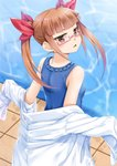 1girl bangs bare_shoulders blue_swimsuit blurry blurry_background blush bow breasts brown_eyes casual_one-piece_swimsuit commentary_request depth_of_field eyebrows_visible_through_hair hair_bow idolmaster idolmaster_cinderella_girls ikebukuro_akiha labcoat light_brown_hair long_sleeves looking_at_viewer looking_back miri_(ago550421) one-piece_swimsuit parted_lips pool red_bow sidelocks signature sleeves_past_fingers sleeves_past_wrists small_breasts solo swimsuit tile_floor tiles twintails water