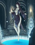 1girl black_hair breasts cleavage floating green_eyes highres hood indoors large_breasts legs massive_kagawa nocturnal raven_(animal) robe side_slit solo the_elder_scrolls the_elder_scrolls_v:_skyrim water